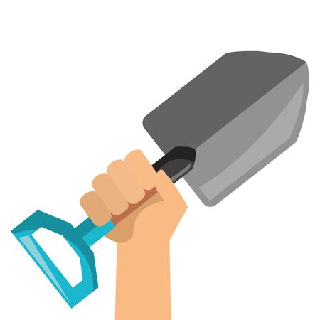 Hand with gardening shovel isolated icon vector illustration design Çizim