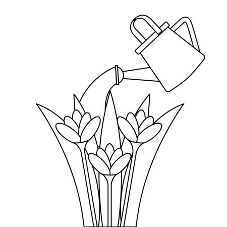 スプリンクラーベクトルイラストデザインで栽培された美しい花