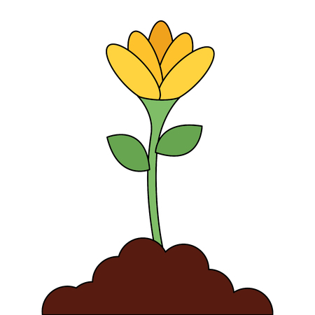 Beautiful flower in grown vector illustration design Çizim