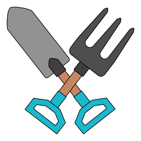 gardening shovel with rake vector illustration design Ilustração