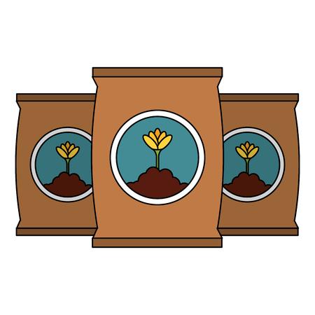 Progettazione dell'illustrazione di vettore dell'icona isolata borse del fertilizzante Archivio Fotografico - 91870208