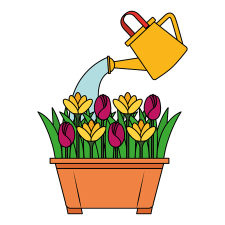 beautiful flowers cultivated in pot vector illustration design