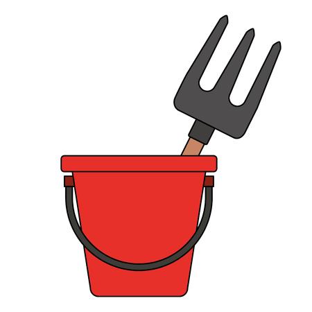 Bucket with gardening rake vector illustration design