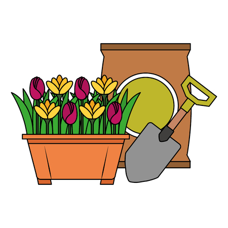 Beautiful flowers cultivated in pot with fertilizer bag and shovel Ilustração