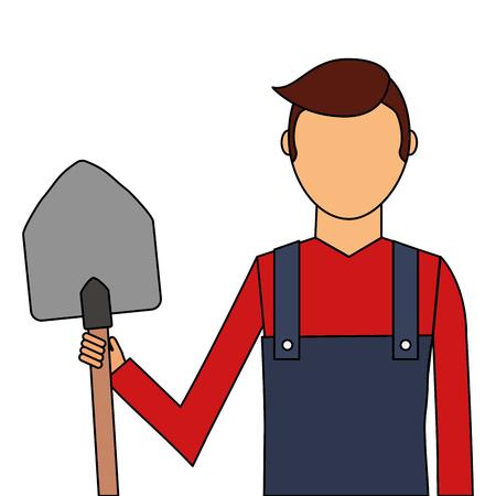 Gardener with shovel avatar character icon vector illustration design