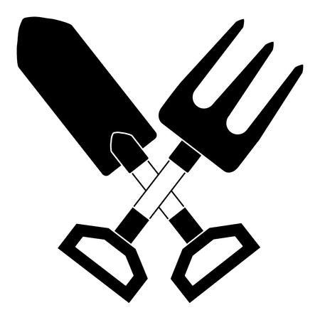 gardening shovel with rake vector illustration design Illusztráció