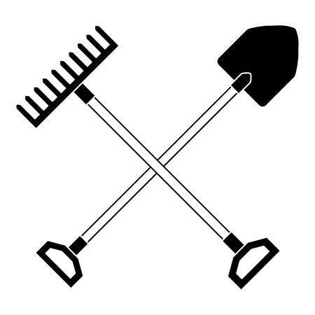 gardening shovel with rake vector illustration design Stock Illustratie