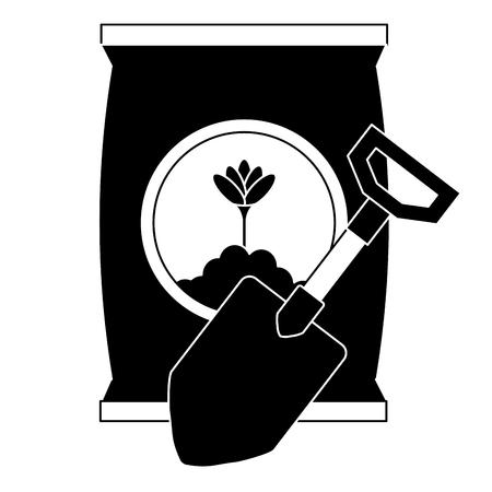 gardening shovel with bag of fertilizer vector illustration design Ilustração