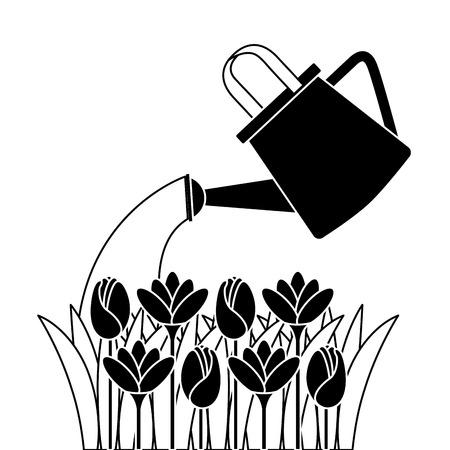Mooie die bloemen met vector de illustratieontwerp van de sproeier worden gecultiveerd Stock Illustratie