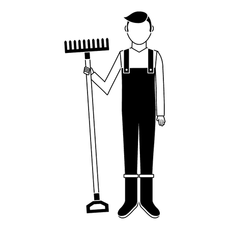 Gardener with rake avatar character icon vector illustration design