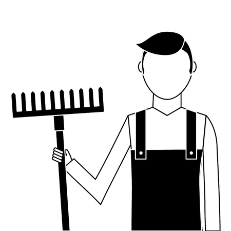A gardener with rake avatar character icon vector illustration design