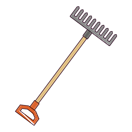 gardening rake isolated icon vector illustration design Vettoriali