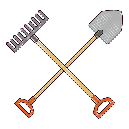 gardening shovel with rake vector illustration design Vettoriali