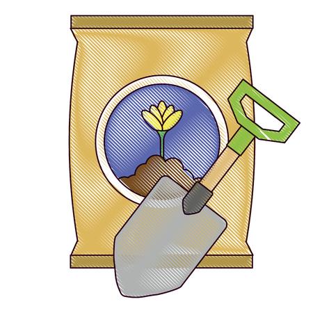 A gardening shovel with bag of fertilizer vector illustration design