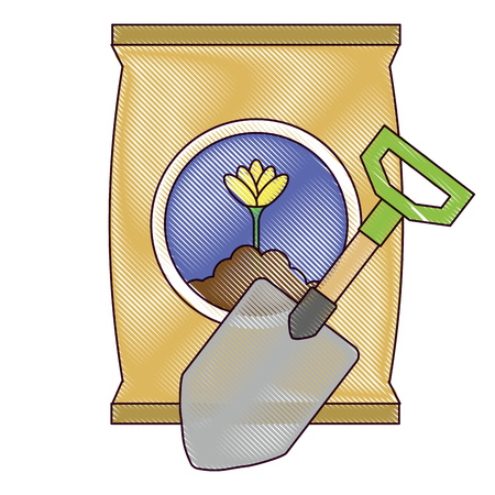A gardening shovel with bag of fertilizer vector illustration design