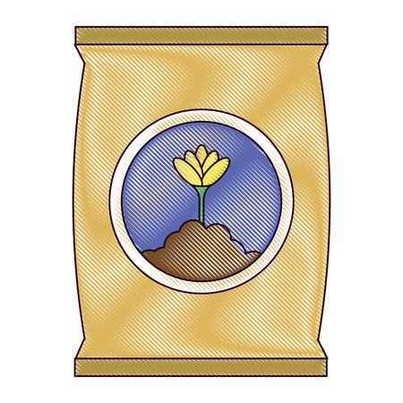 Progettazione dell'illustrazione di vettore dell'icona isolata borsa del fertilizzante Archivio Fotografico - 91881342