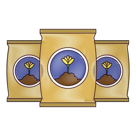 A fertilizer bags isolated icon vector illustration design Ilustração