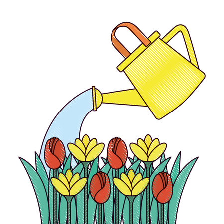 Beautiful flowers cultivated with sprinkler vector illustration design
