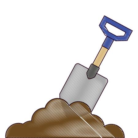 砂ベクトルイラストデザインのガーデニングシャベル  イラスト・ベクター素材