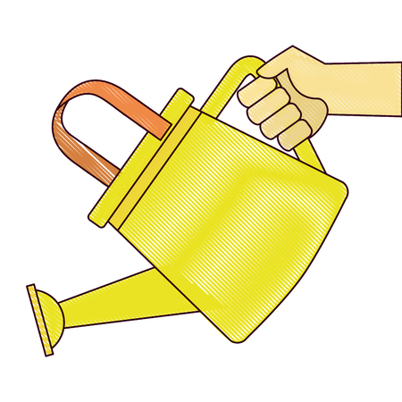 Hand with gardener plastic sprinkler icon vector illustration design