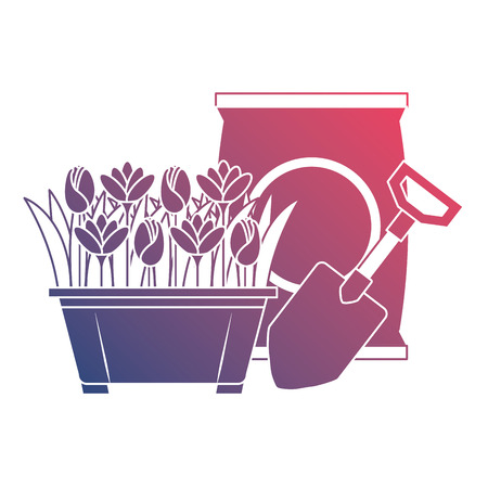 Beautiful flowers cultivated in pot with fertilizer bag and shovel Illustration