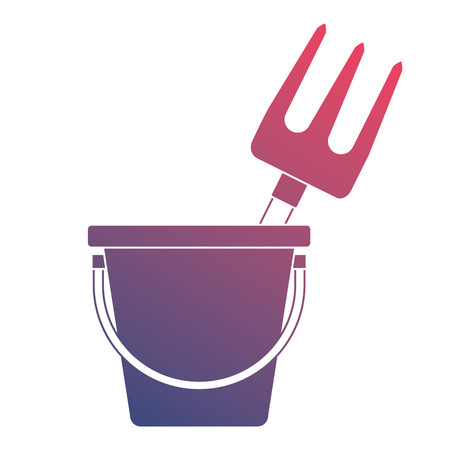 Bucket with gardening rake vector illustration design 版權商用圖片 - 91872745