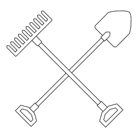gardening shovel with rake vector illustration design Illustration