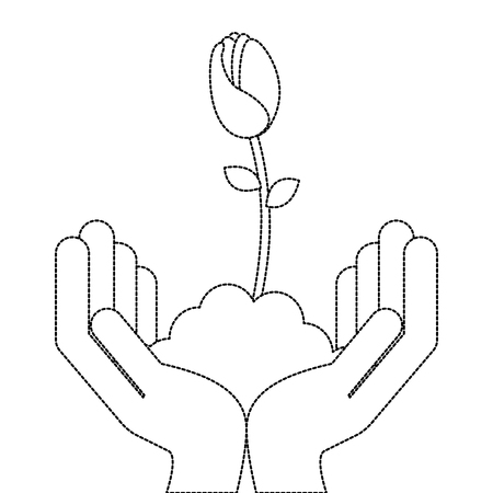 Hands with beautiful rose in grown vector illustration design Illustration