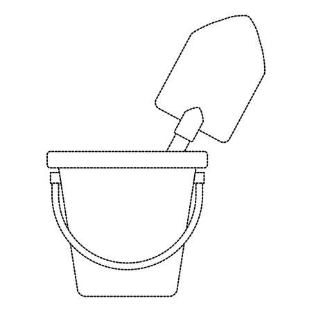Bucket with gardening shovel vector illustration design