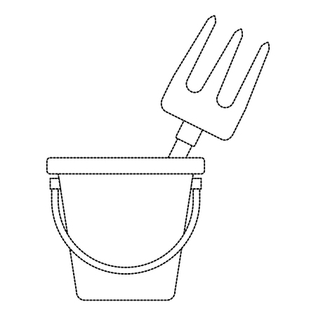 Bucket with gardening rake vector illustration design