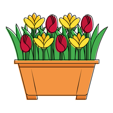 Beautiful flowers in pot design