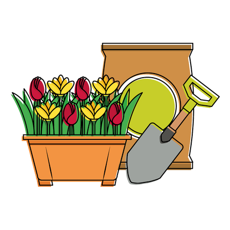 beautiful flowers cultivated in pot with fertilizer bag and shovel