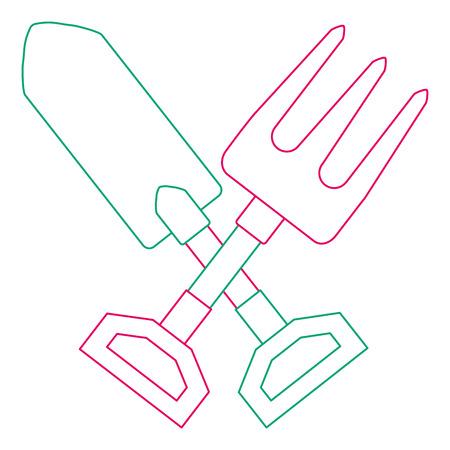 レーキベクトルイラストデザインのガーデニングシャベル  イラスト・ベクター素材
