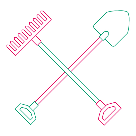 Gardening shovel with rake vector illustration design Иллюстрация