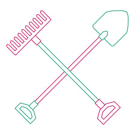 Gardening shovel with rake vector illustration design Vettoriali