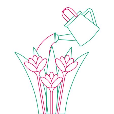 スプリンクラー ベクトル イラスト デザインで培われた美しい花
