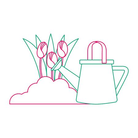 Mooie rozen die met ontwerp van de sproeier het vectorillustratie worden gecultiveerd Stock Illustratie
