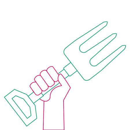 Hand with gardening rake vector illustration design
