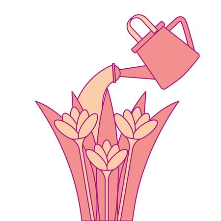 beautiful flowers cultivated with sprinkler vector illustration design Ilustração