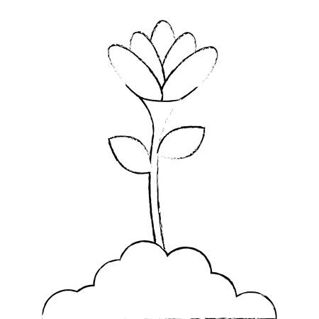 成長したベクトルイラストデザインで美しい花