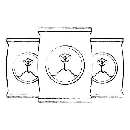 Progettazione dell'illustrazione di vettore dell'icona isolata borse del fertilizzante Archivio Fotografico - 91898337