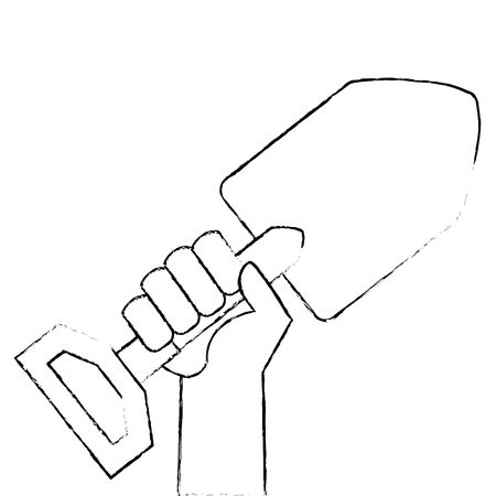 Mão com pá de jardinagem isolado ícone vector ilustração design Foto de archivo - 91891495