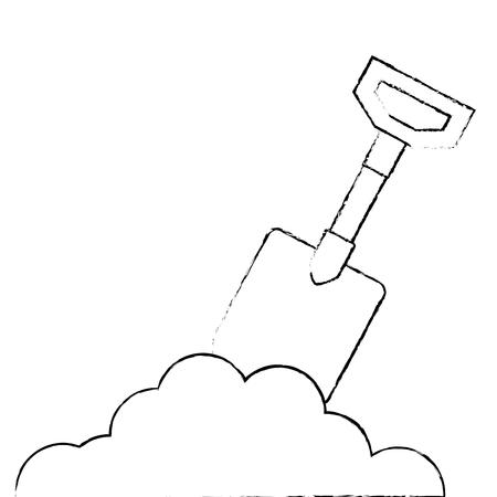 Gardening shovel with sand vector illustration design Ilustração