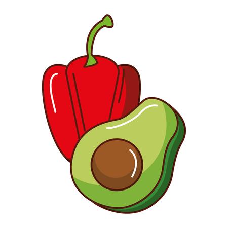 Fresh avocado with pepper vector illustration design