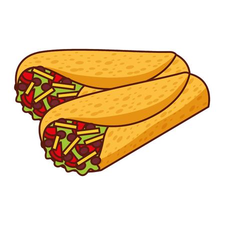 Delicious mexican food burrito vector illustration design Ilustração