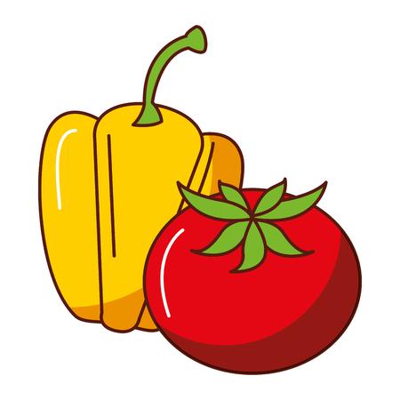 Fresh pepper and tomato vector illustration design Illustration