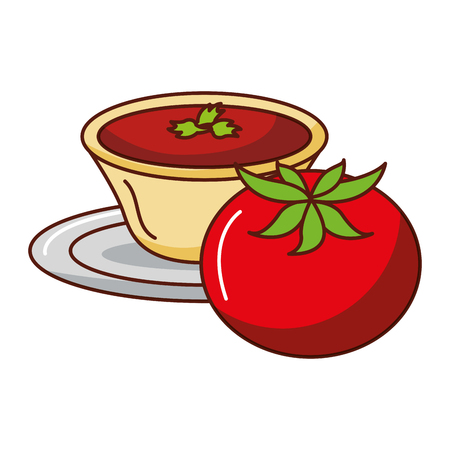 tomato with sauce in dish vector illustration design Stock Vector - 92028058