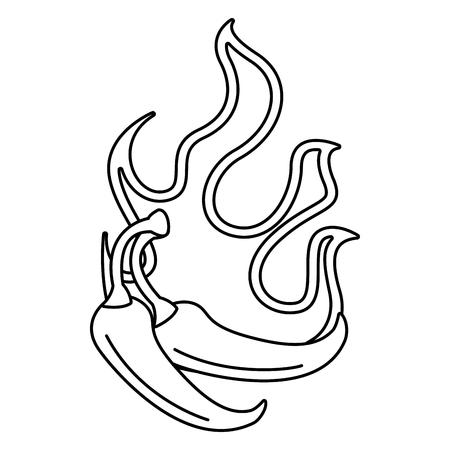 Légumes chili épicé avec flammes vector illustration design Banque d'images - 91892054