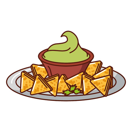 delicious nachos with sauce vector illustration design