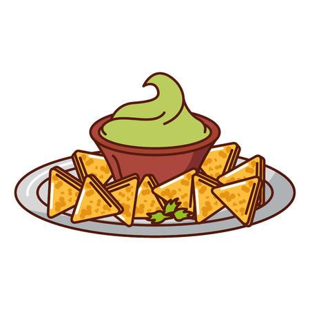 Heerlijke nacho's met ontwerp van de saus het vectorillustratie Stockfoto - 91898342